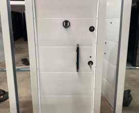 white metal security door