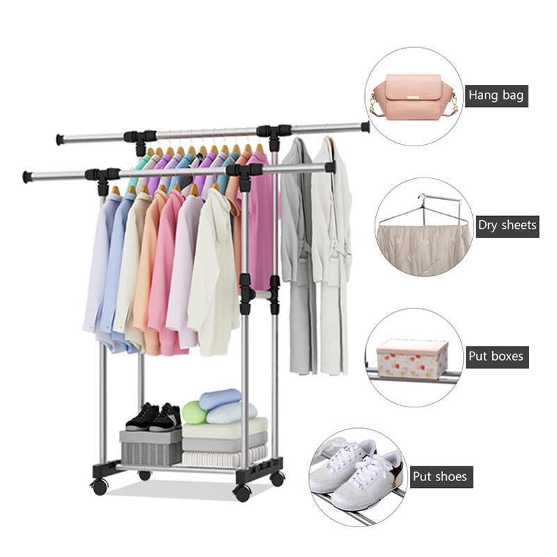 Double pole clothing rack