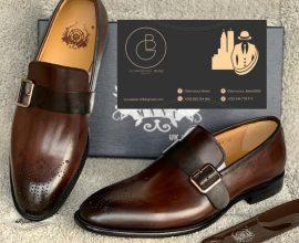 brown mens buckle shoe