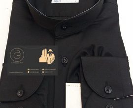 black chinese collar shirt