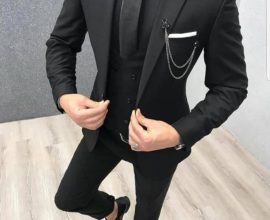 all black suit and tie