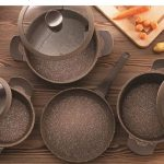 Falez 9 piece grand touch cookset (brown)
