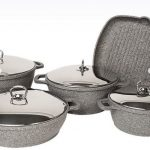Falez Silicon Cast Grey Granitec collection 9 piece with metal lids