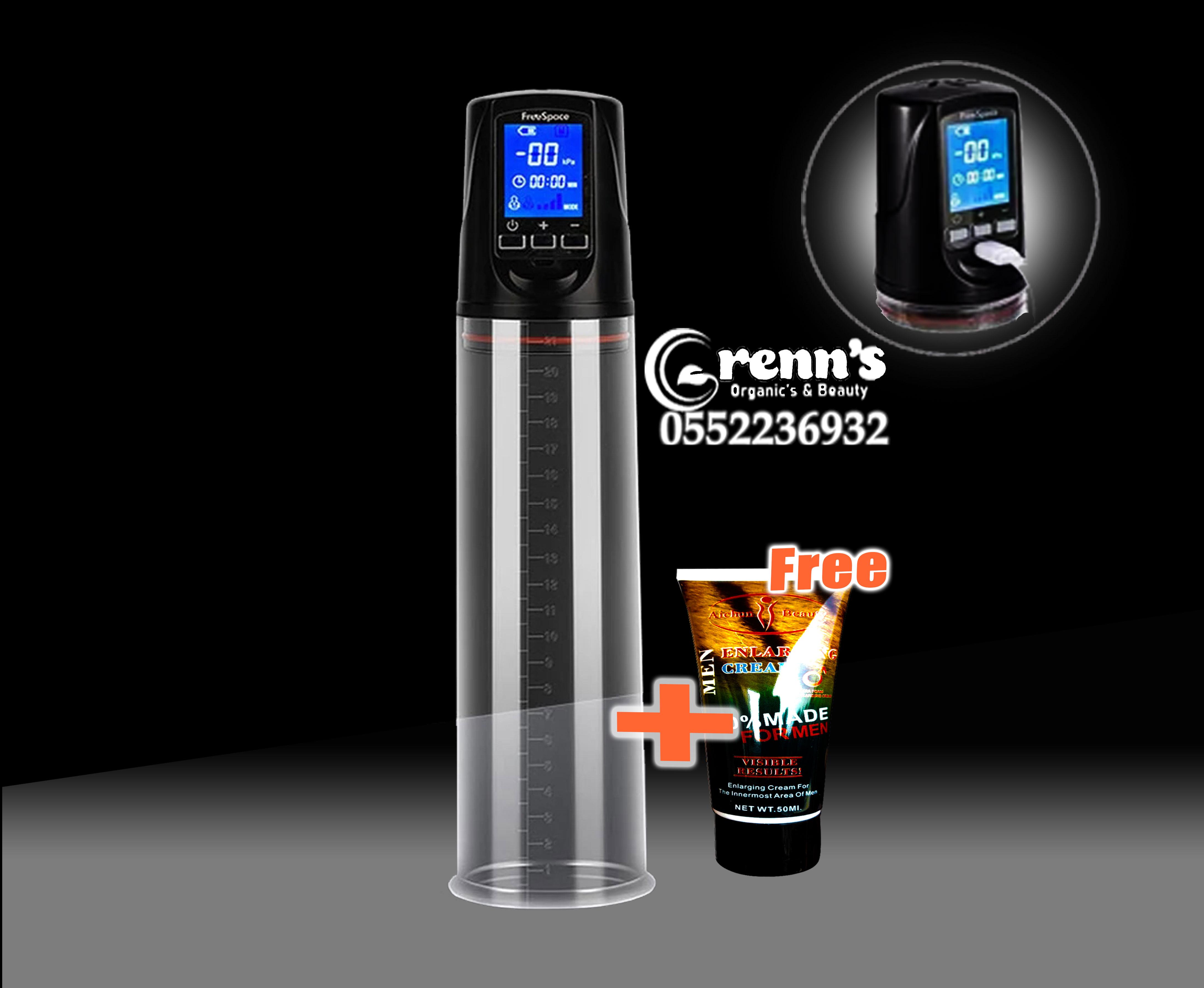 Automatic penis enlarging pump plus free cream