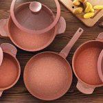 Falez Pinky Granitec Saucepan Set