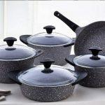 Falez 9pcs Doacast Premium Granistone Oven Safe Set, Grey