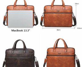 faux leather laptop bag