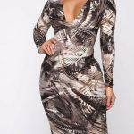 Deep V Neck Stretchy Midi Dress