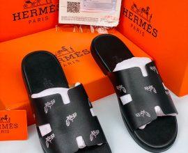 black hermes slippers